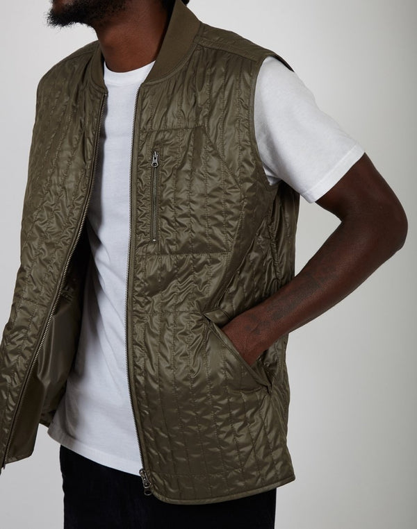 The Idle Man - Low Loft Quilt Gilet Khaki