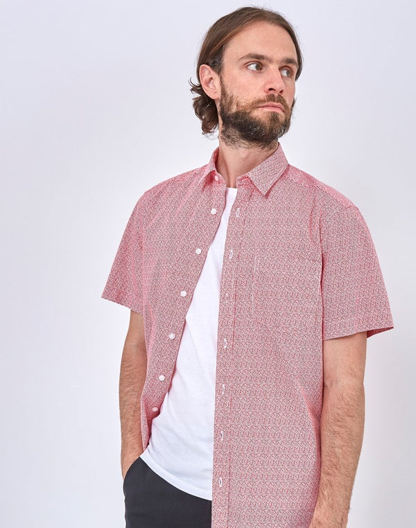The Idle Man - Oversize Fit Dots PrinT-Shirt Red