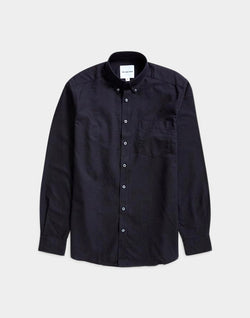 The Idle Man - Relaxed Modern Fit Oxford Shirt Black