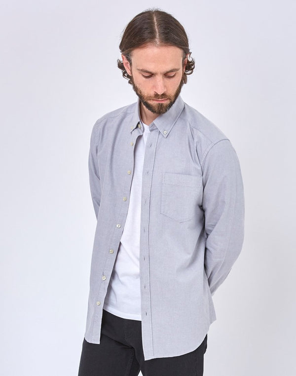 The Idle Man - Relaxed Modern Fit Oxford Shirt Grey