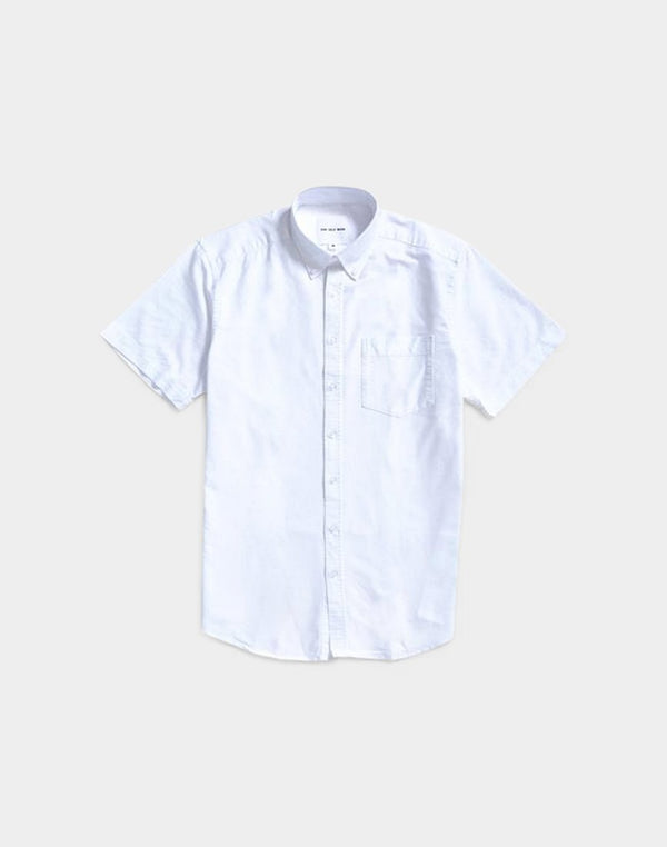 The Idle Man - Relaxed Modern Fit Oxford Short Sleeve Shirt White