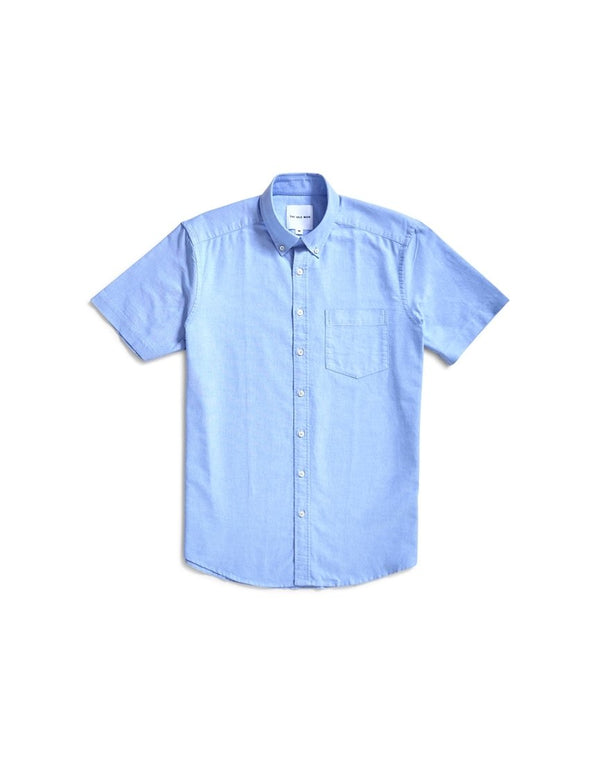 The Idle Man - Relaxed Modern Fit Oxford Short Sleeve Shirt Blue