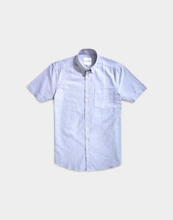 The Idle Man - Relaxed Modern Fit Oxford Short Sleeve Shirt Grey
