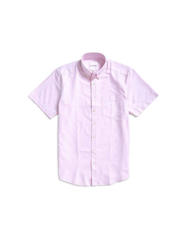 The Idle Man - Relaxed Modern Fit Oxford Short Sleeve Shirt Pink