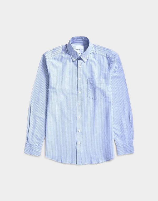 The Idle Man - Relaxed Modern Fit Stripe Oxford Shirt Blue