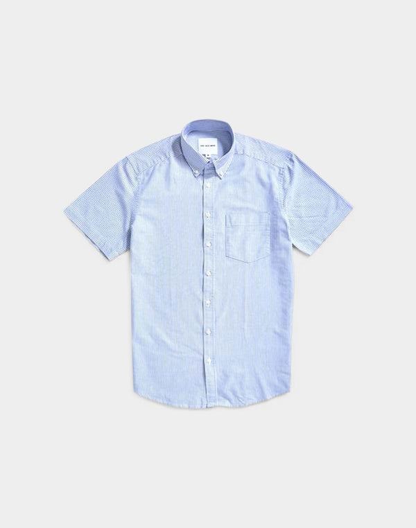 The Idle Man - Relaxed Modern Fit Stripe Oxford Short Sleeve Shirt Blue