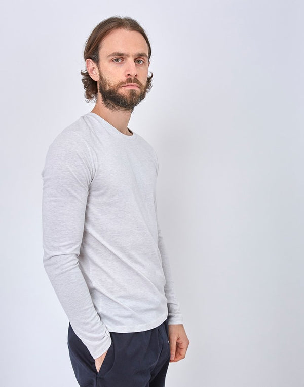 The Idle Man - Organic Long Sleeve T-Shirt Ecru Marl