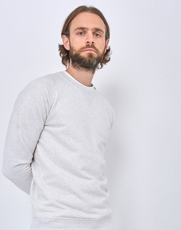 The Idle Man - Organic Raglan Sweatshirt Ecru Marl