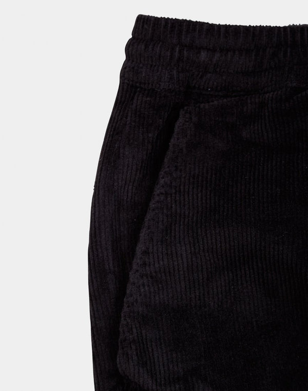 The Idle Man - Corduroy Elasticated Waist Trousers Black