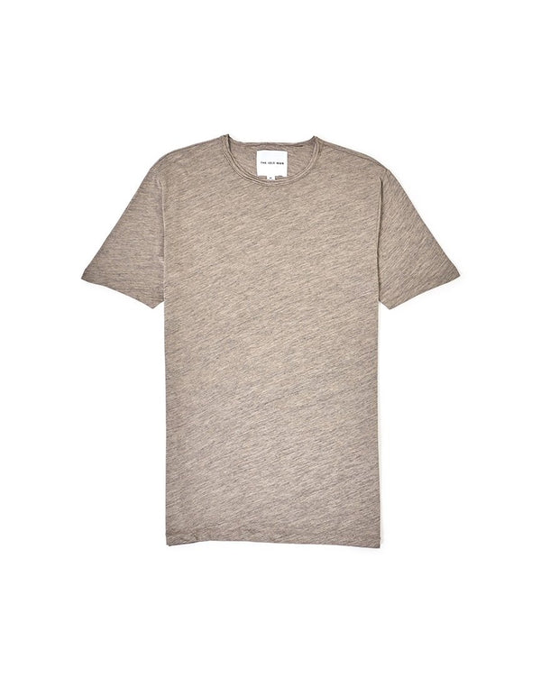 The Idle Man - Rolled Neck Slub T-Shirt Stone