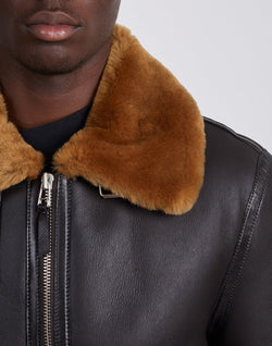 The Idle Man -Real Shearling Flight Jacket Brown