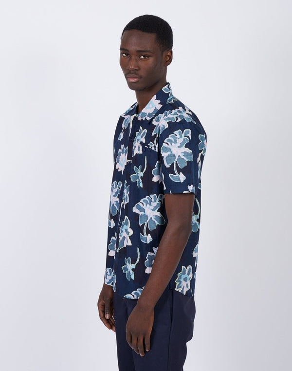 The Idle Man - Short Sleeve Printed Shirt Navy