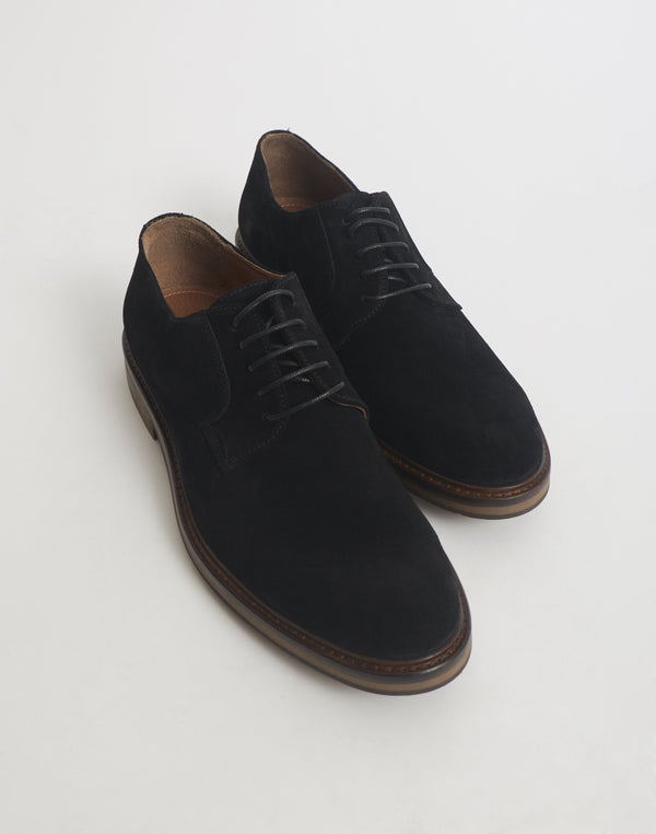 The Idle Man - Suede Derby Shoe Black