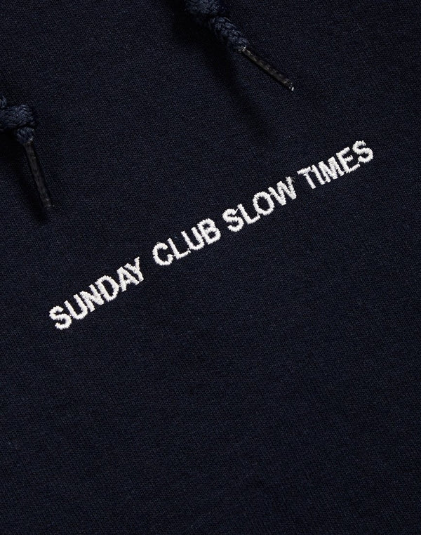 The Idle Man -Sunday Club Slow Times Pec Embroidered Hoodie Navy
