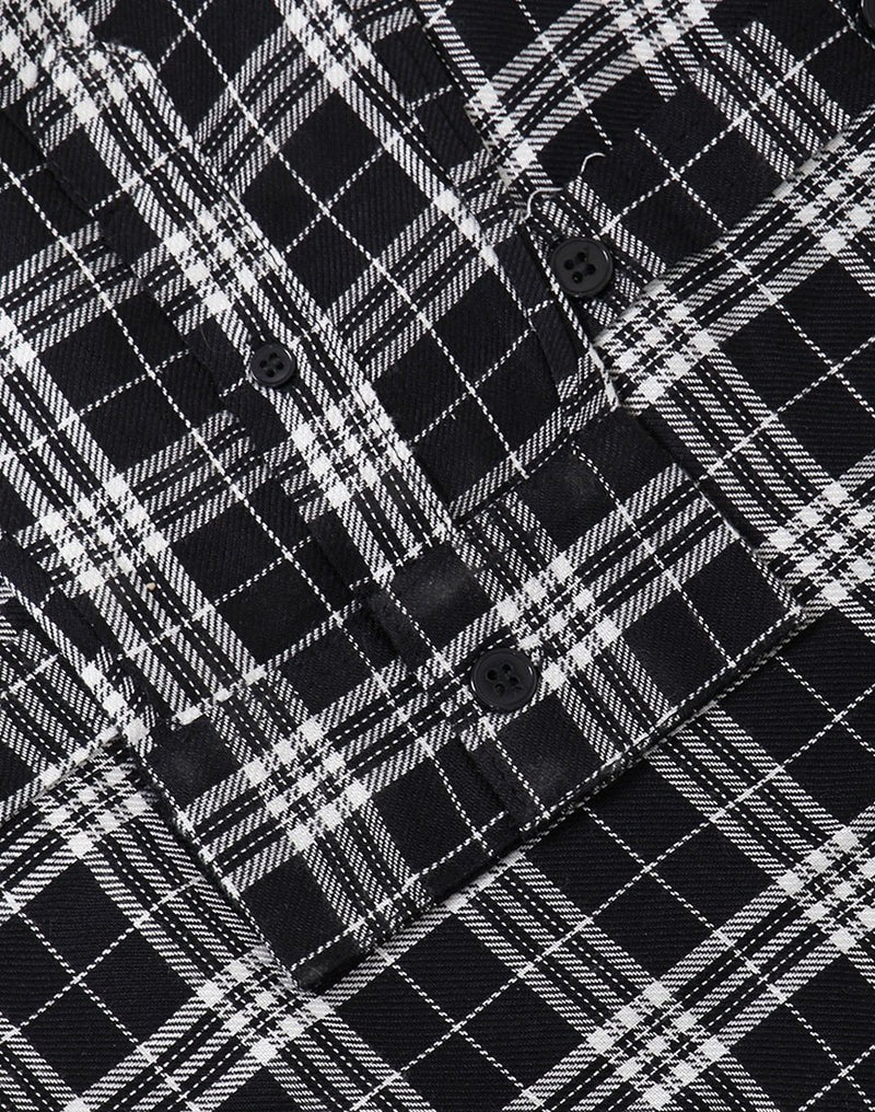 The Idle Man -Tartan Check LS Shirt Black