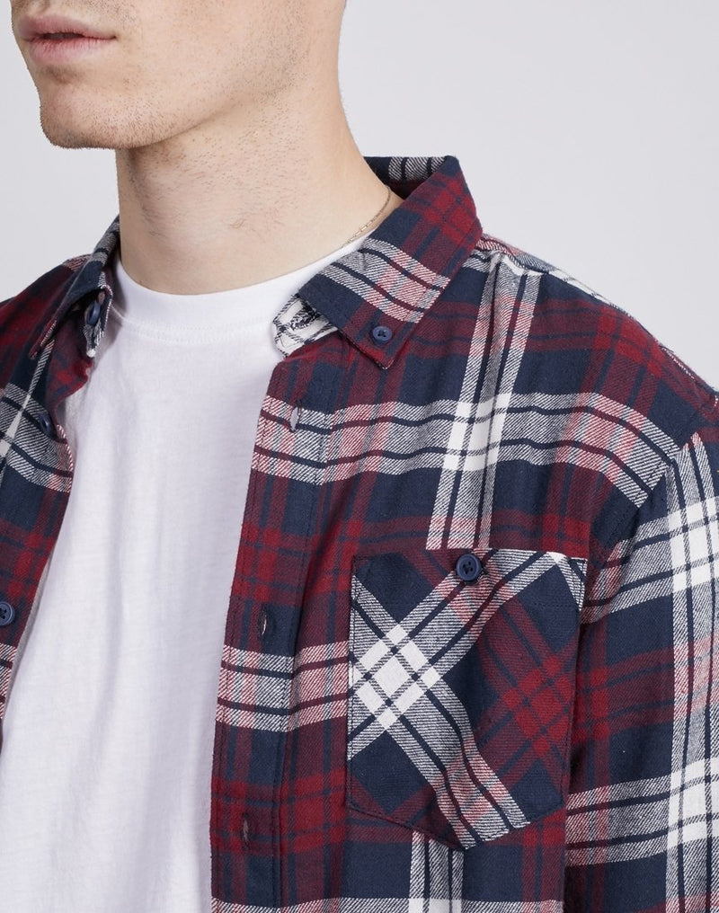 The Idle Man - Tartan Flannel Shirt Navy & Red