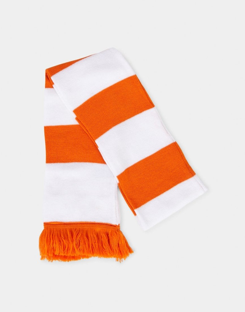 The Idle Man - Varsity Stripe Scarf White & Orange