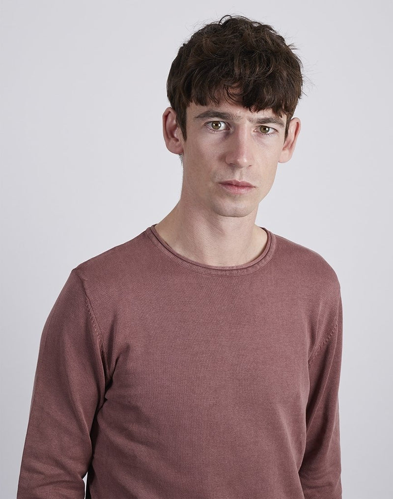The Idle Man -Wash Crew Neck Burgundy