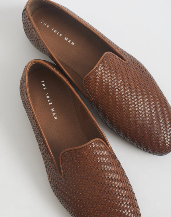 The Idle Man - Woven Slip On Leather Shoe Tan
