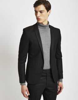 The Idle Man - Suit Jacket in Skinny Fit Black