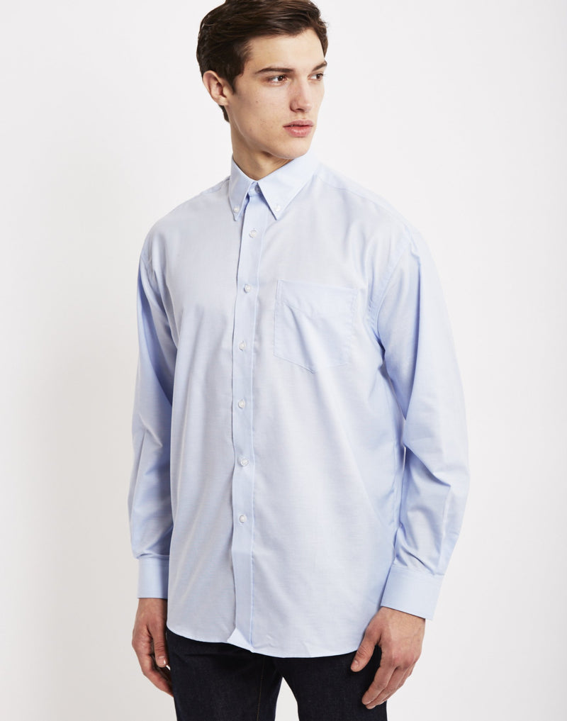 The Idle Man - Long Sleeve Oxford Shirt Blue