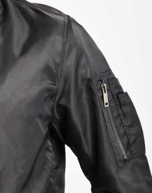 The Idle Man - Lightweight Nylon MA-1 Bomber Jacket Black