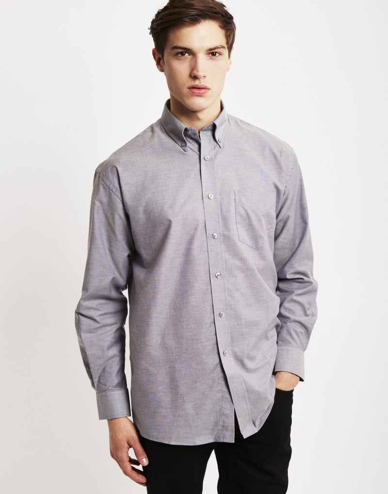 The Idle Man - Long Sleeve Oxford Shirt Grey