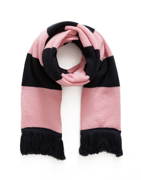 The Idle Man - Varsity Stripe Scarf Navy & Pink