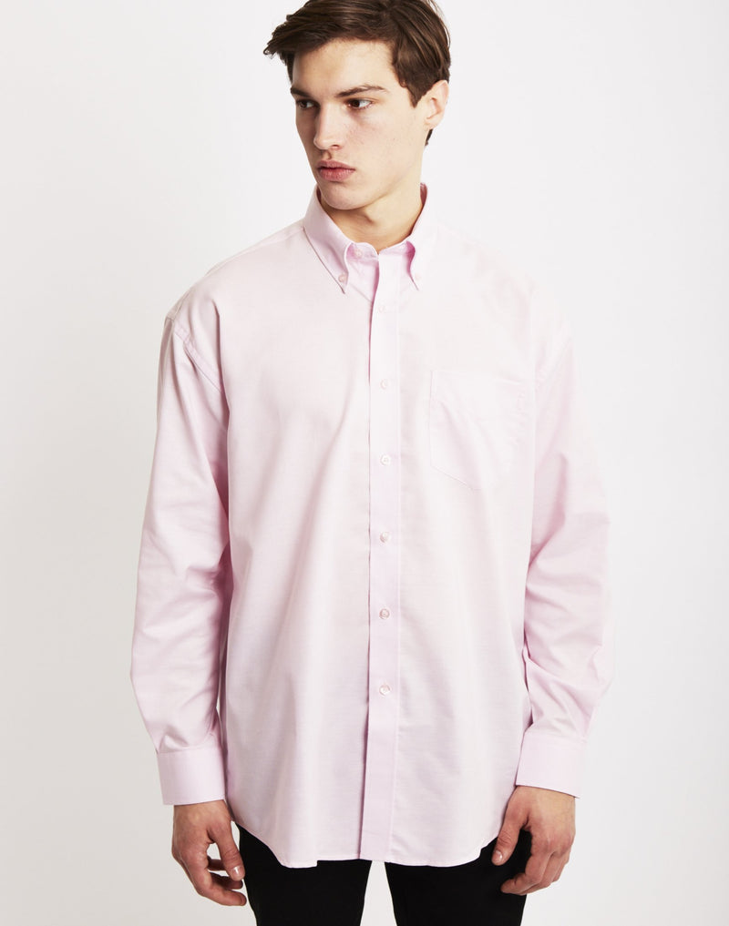 The Idle Man - Long Sleeve Oxford Shirt Pink