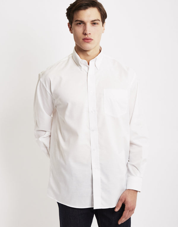 The Idle Man - Long Sleeve Oxford Shirt White