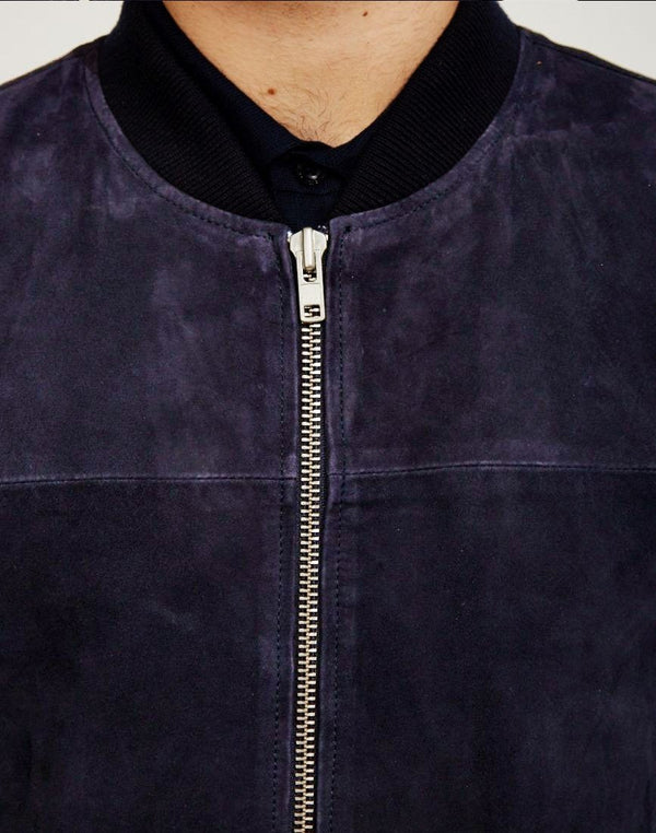 The Idle Man - Suede Bomber Navy