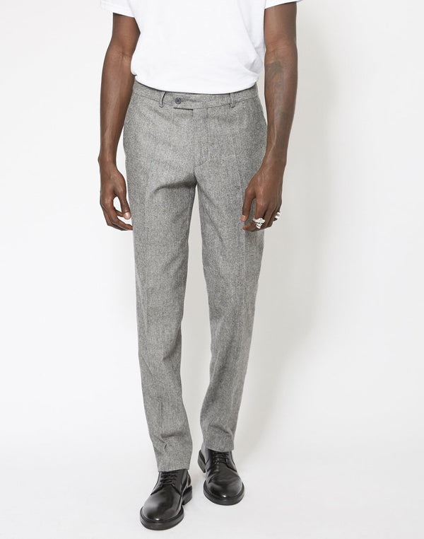 The Idle Man - Slim Fit Pure Wool Tweed Suit Trousers Grey