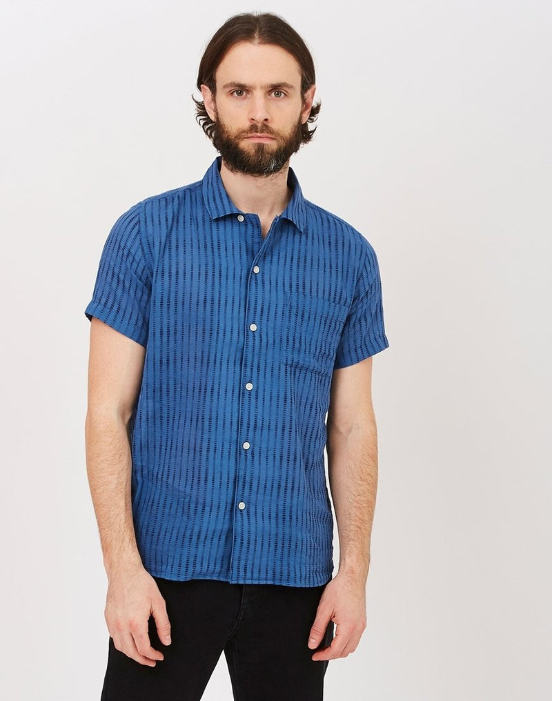 Wax London - Fazeley Short Sleeve Shirt Navy