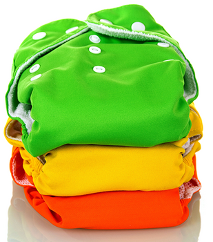 Stack of clean cloth diapers