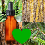 Essential Oil Signature Scent | Acadian Forest| The background is made up of images of pine needles, balsam needles on a branch, cedar bark and a birch forest. A glass amber dropper bottle is in the foreground. A forest green heart at the bottom of the image signifies the signature Acadian Forest scent.