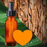 Essential Oil Signature Scent | Lemon Blend | The background is made up of images of cedar bark and lemongrass leaves with rain drops on them. A glass amber dropper bottle in the foreground. An orange heart at the bottom of the image signifies the signature Lemon scent.
