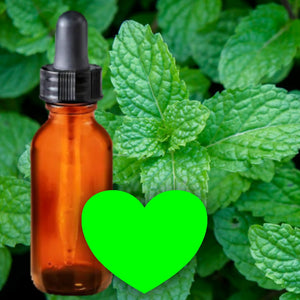 Essential Oil Signature Scent | Peppermint | The background is made up of peppermint leaves. A glass amber dropper bottle is in the foreground. A bright green heart at the bottom of the image signifies the signature peppermint scent.