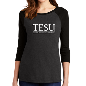 District Women's Perfect Tri 3/4 Sleeve Raglan - Serif - Close Out