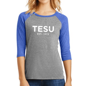 District Women's Perfect Tri 3/4-Sleeve Raglan- Distress