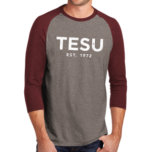 District Perfect Tri 3/4-Sleeve Raglan- Distress - Close Out