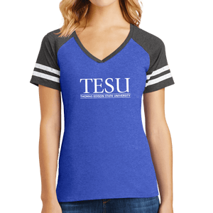 District Women's Game V-Neck Tee - Serif- Close Out