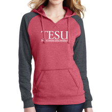Load image into Gallery viewer, District Women's Lightweight Fleece Raglan Hoodie- Serif