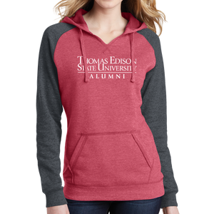District Women's Lightweight Fleece Raglan Hoodie- Alumni