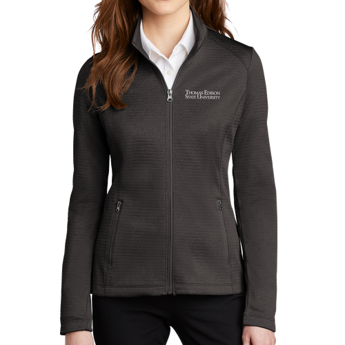 Port Authority Ladies Diamond Heather Fleece Full Zip Jacket - Academic