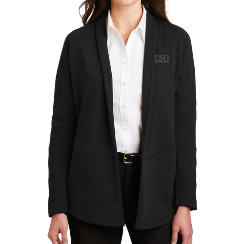 Port Authority Ladies Interlock Cardigan - Serif- Close Out