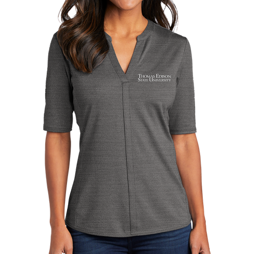 Port Authority Ladies Stretch Heather Open Neck Top- Academic
