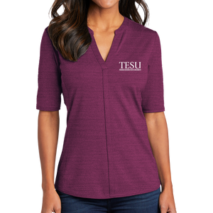 Port Authority Ladies Stretch Heather Open Neck Top- Serif