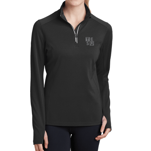 Sport-Tek Ladies Sport-Wick Textured 1/4-Zip Pullover- Block