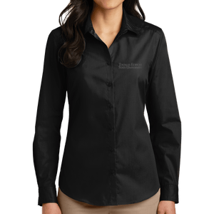 Port Authority Ladies Long Sleeve Carefree Poplin Shirt - Academic