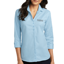 Load image into Gallery viewer, Port Authority Ladies 3/4 Sleeve Micro Tattersall Easy Care Shirt - TESU Sans